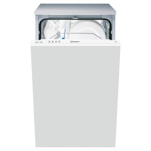 Indesit DIS04 Integrated Slimline Dishwasher, A Energy Rating, White