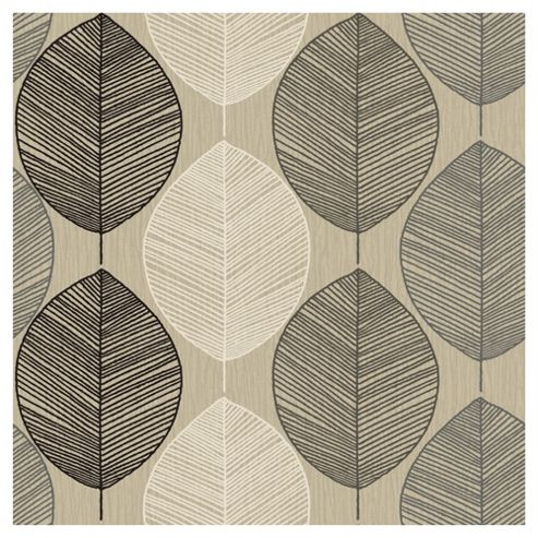 Arthouse Retro Leaf Taupe Wallpaper