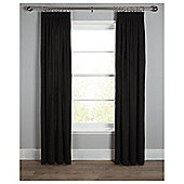 Plain Canvas Lined Pencil Pleat Curtains - Black