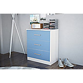Cannes 3 drawer chest white frame & blue drawers