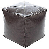 Kaikoo Faux Leather Bean Bag Cube With Stitch Detail, Brown