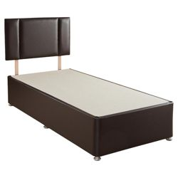 Airsprung Single Faux Leather Non-Storage Divan Bed Plus Headboard