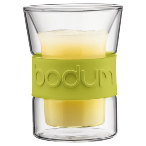 Bodum Presso Set of 2 0.2L Double Walled Glasses, Green