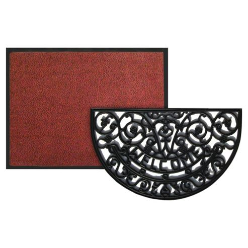 Red Indoor Mat 60x80cm & Welcome Mat 45x75cm