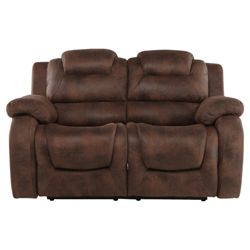 Lisbon Small Fabric Recliner Sofa, Dark Brown