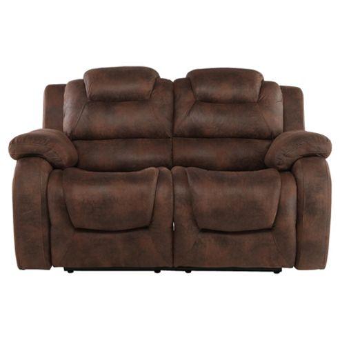 Buy Lisbon Small 2 Seater Fabric Recliner Sofa Dark Brown