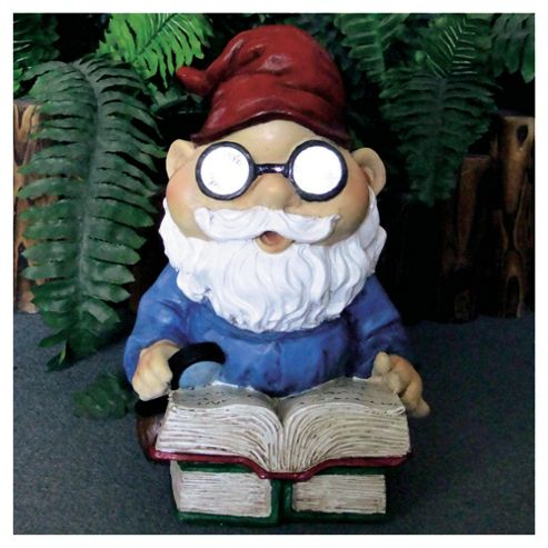 Reading Garden Gnome Solar Light, Blue