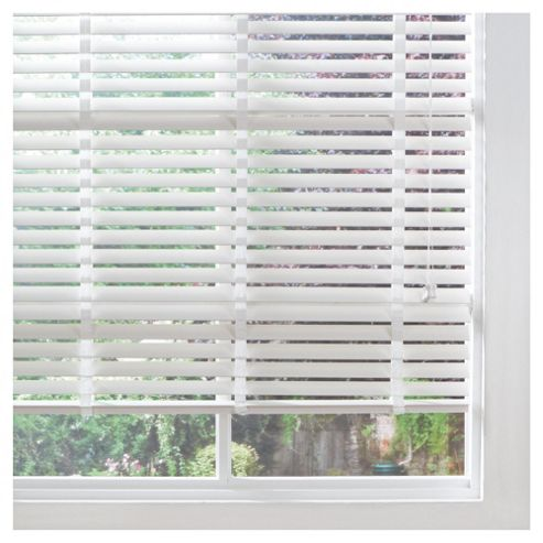 Wood Venetian Blind W180cm, Slats 50mm, Pure White