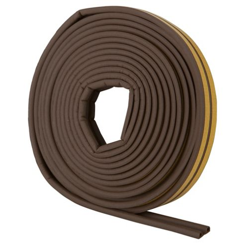 Rubber P Profile Self Adhesive Draught Excluder Brown