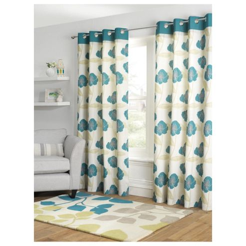 Tesco Poppy Print lined eyelet Curtains W163xL183cm (64x72