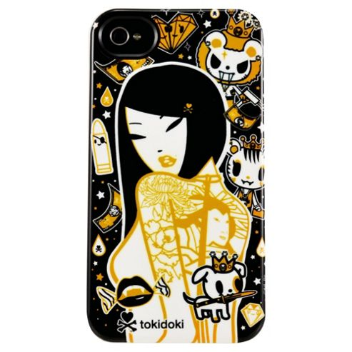 Toki Doki Deflector Plastic Case for Apple iPhone 4/4S - Black/White/Gold