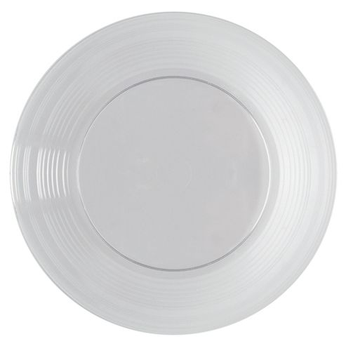 Tesco Set of 8 Plastic Plates, Clear