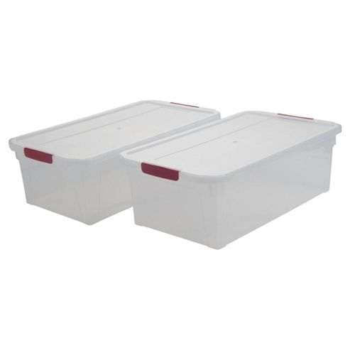 Whitefurze 15 Litre Plastic Storage Box with Clip Lid, 2-Pack