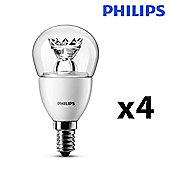 Pack of 4 Philips 6W SES E14 LED Golfball Bulbs in Warm White