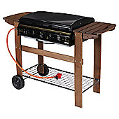 Tesco Flat Top 3 Burner Gas BBQ with Wooden Bench