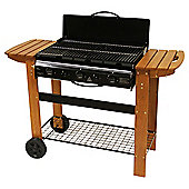 Tesco Flat Top 3 Burner Gas BBQ with Wooden Side Bench