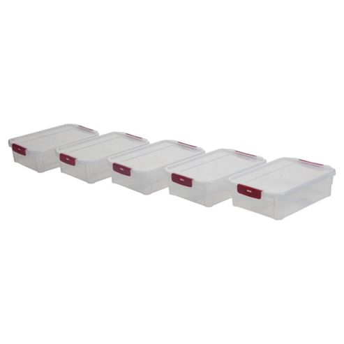 Whitefurze 1L Plastic Storage Box with Clip Lid, Pack of 5