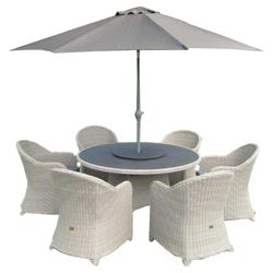 Bellagio Monza 6 Seat Set inc Parasol & Base