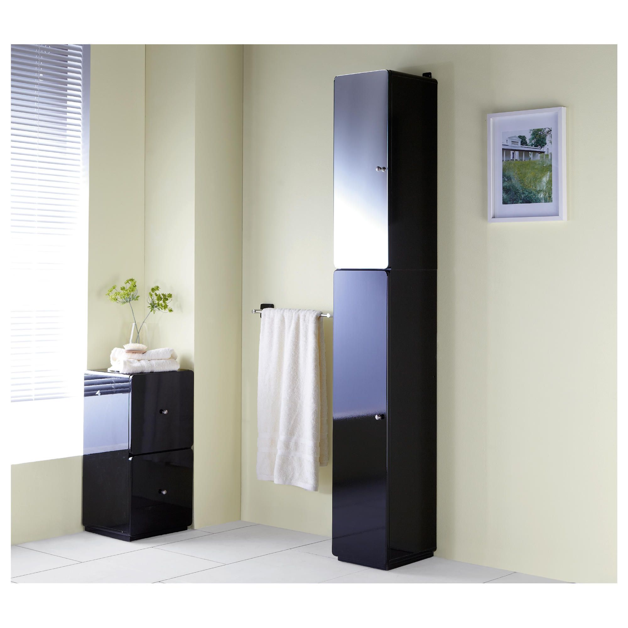 Home and garden bathroom stockholm white gloss under sink cupboard special offers - Bathroom cabinets black gloss ...