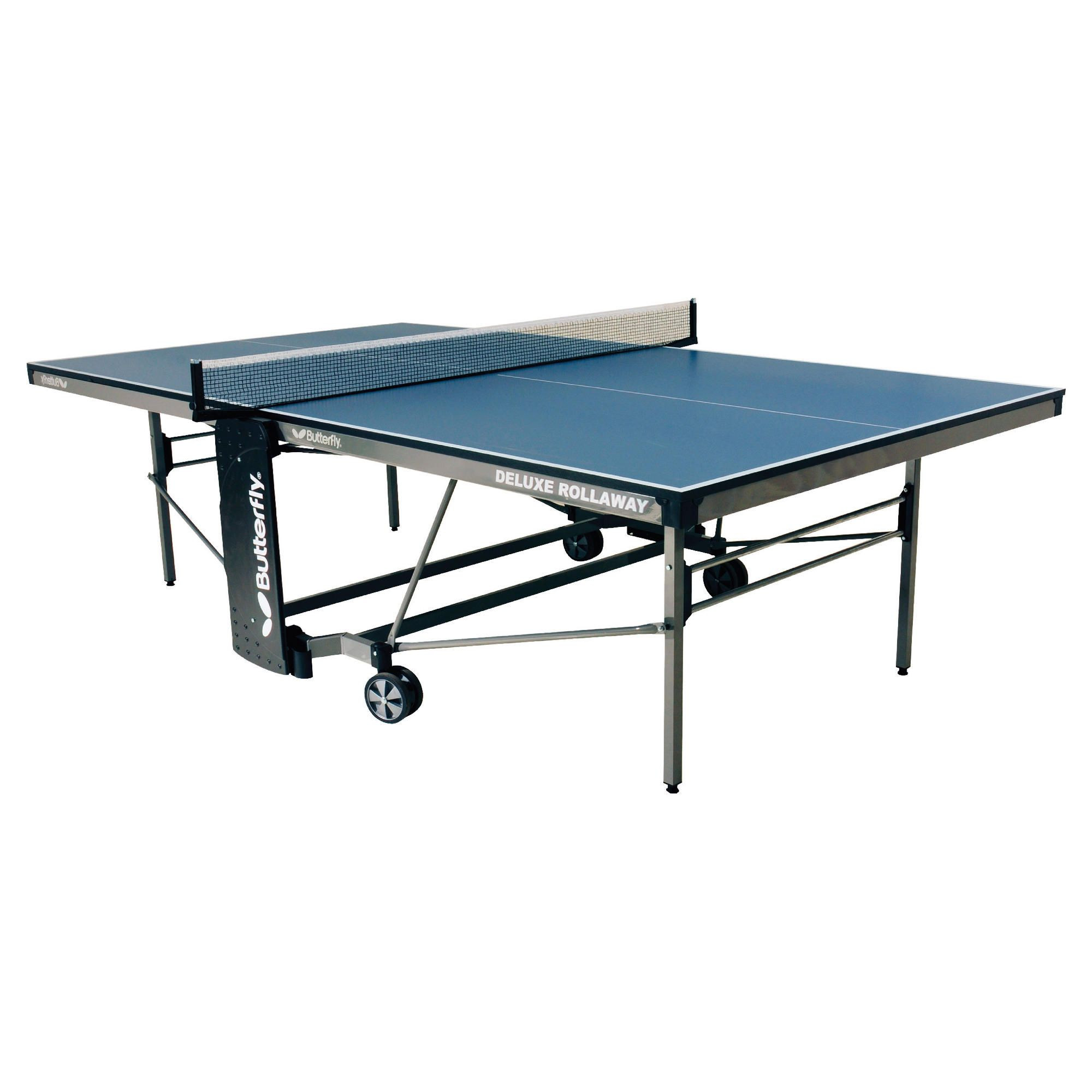 Butterfly Deluxe Rollaway Table Tennis Table - Blue at Tesco Direct
