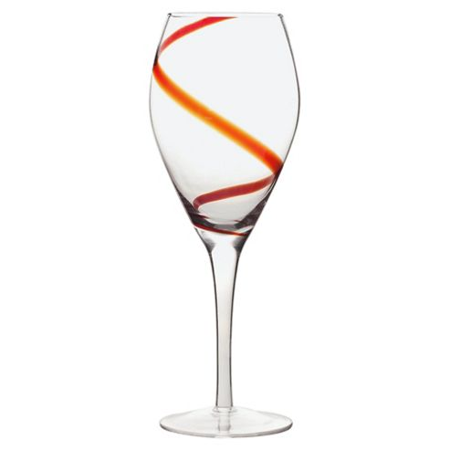F&F Home Set of 4 Swirl Wine Glasses, Red