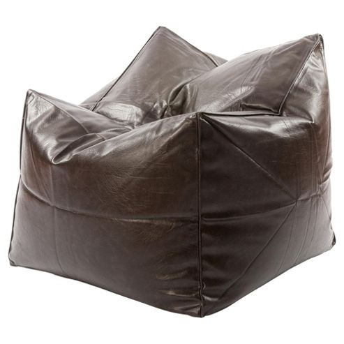 Kaikoo Faux Leather Square Bean Bag, Brown