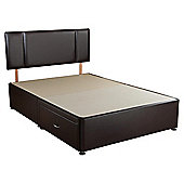 Airsprung King Size Faux Leather 2 Drawer Divan Bed Plus Headboard