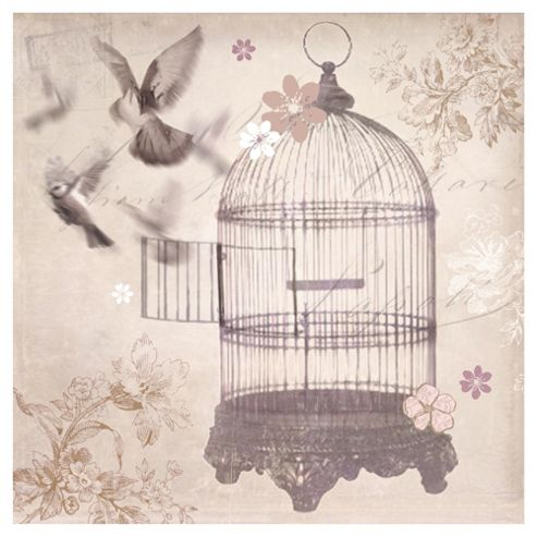Silver Birdcage Canvas 57x57x3.8cm
