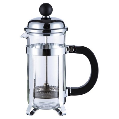 Tesco 3 Cup Banded Chrome Steel cafetiere