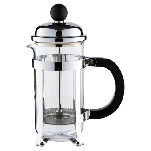 Tesco 3 Cup Banded Cafetiere, Chrome Steel