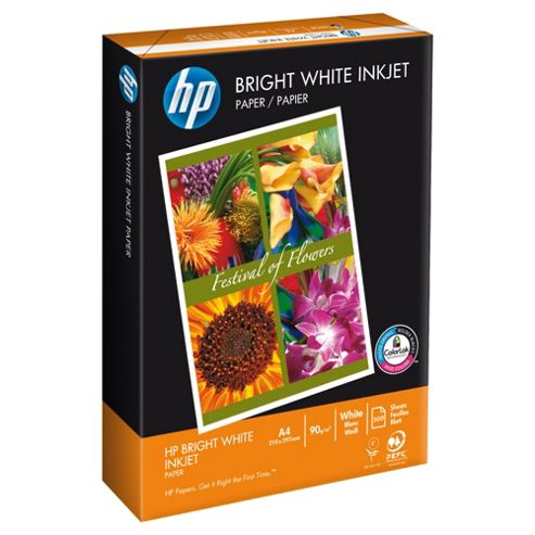 HP Bright White Inkjet A4 90gsm paper, 500 Sheets