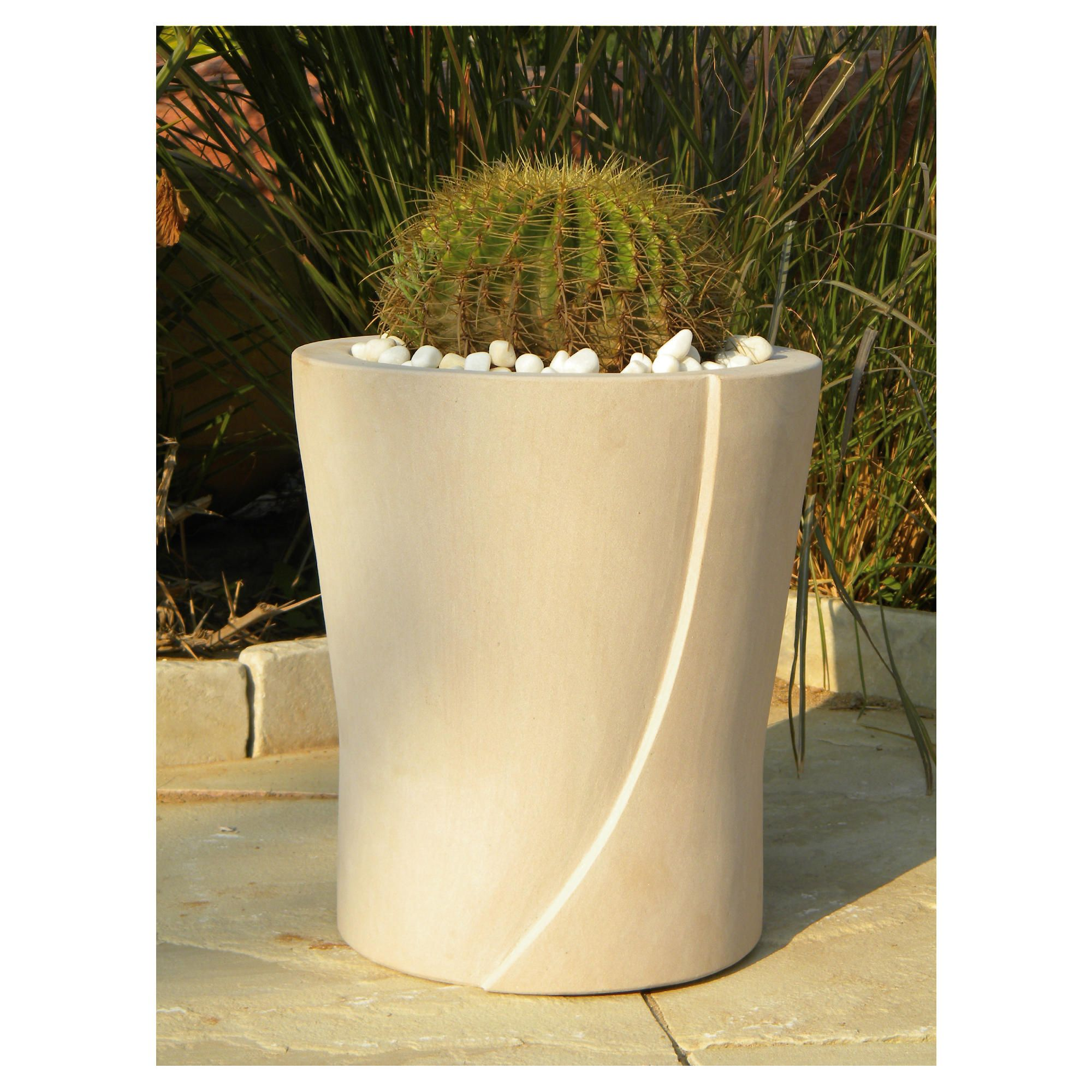 Lacerta Stone Planter Beige 40cm at Tesco Direct