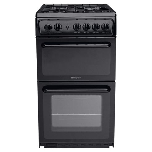 Hotpoint HAG51K, Black, Gas Cooker, Single Oven, 50cm