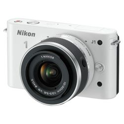 Nikon 1 J1 Compact System Camera - White (10-30mm Lens Kit) 3 inch LCD Screen