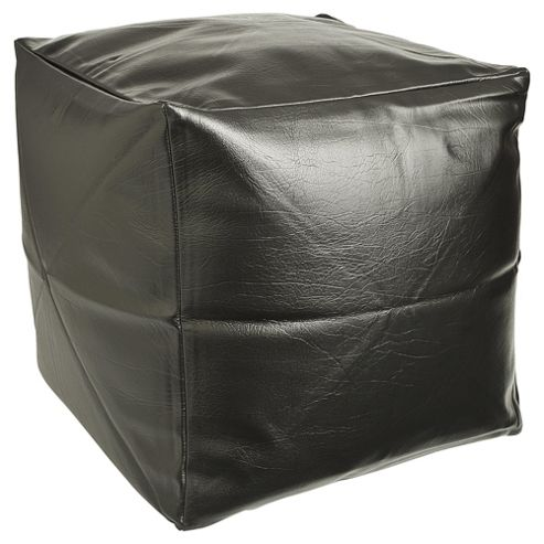 Kaikoo Faux Leather Bean Bag Cube, Black