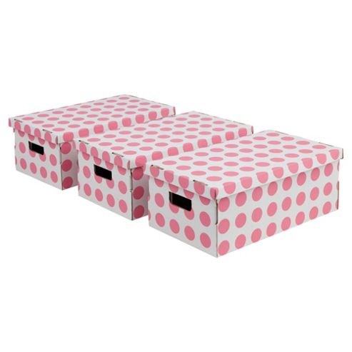 Pois Boxes Set, 3 Piece - Pink