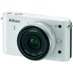 Nikon 1 J1 Compact System Camera - White (10mm Lens Kit) 3 inch LCD Screen