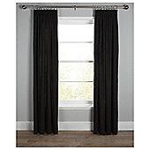 Plain Canvas Lined Pencil Pleat Curtains - Black