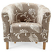 Tub Fabric Accent Chair Leaf Natural