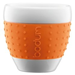 Bodum Pavina Set of 2 0.25L Porcelain Mugs, Orange.
