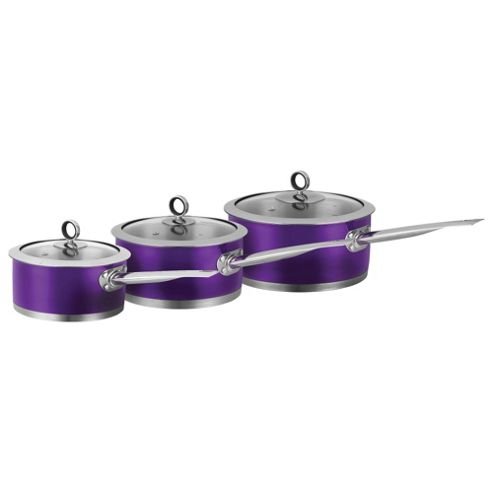 Morphy Richards Accents 3 Piece Pan Set, Purple