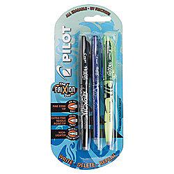 Pilot Black Blue & Yellow Frixion School Pens, 3 Pack