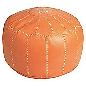 Kaikoo Moroccan Faux Leather Pouffe With Embroidery, Rust