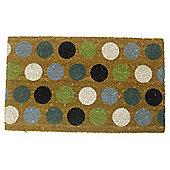 Primeur Spot Coir Mat, Teal/Lime/Blue 45x75cm
