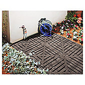 Keter Step On Plastic Floor Tiles, 4 Pack, Black