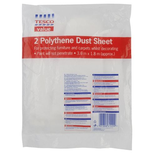 Tesco Value polythene dust sheet, 2 Pack
