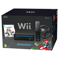Nintendo Wii Console with Mario Kart, Wii Wheel & Wii Remote Plus