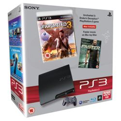 Sony PlayStation 3 (320GB Slim Model) - Bundle with Uncharted 3 and Faster (Blu-ray)