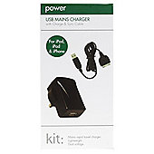 Kitpower mains charger for the new Apple iPad and iPad 2 (with USB port and cable)
