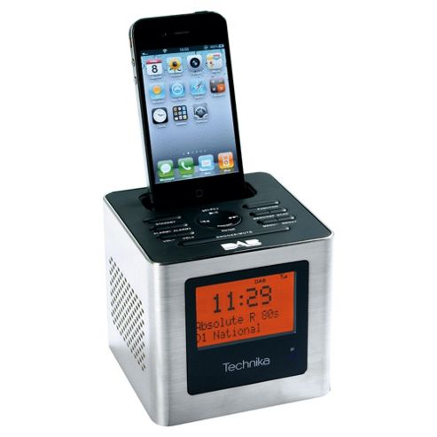 Technika Cube Clock Dock w/ DAB CR 211 SC Iphone or Ipod